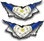SMALL Pair Triangular Ripped Torn Metal & Yorkshire Rose County Flag Vinyl Car Sticker 75x35mm Each